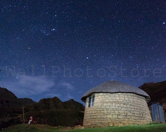 Lesotho Photography, Traditional African Hut, Lesotho Rondavel, Night Sky, South African Photography, Lesotho Prints, African Wall Art Print