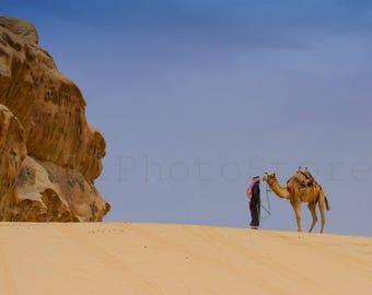 Desert Art, Camel Photography, Jordan Photography, Middle East Art, Camel Photo, Desert Photography, Animal Photography, Camel Print, Brown