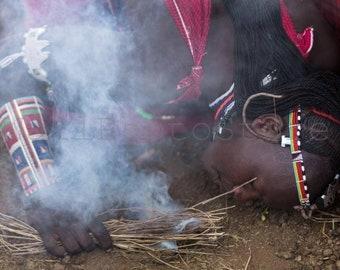 Masai Making Fire, Masai Mara, Kenya Africa Photography, African Man, African Art, Wall Art Print, Fine Art Photography, Fine Art Print