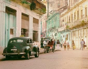 Black Taxi in Old Havana, Havana Street Photography, Cuba Taxi Art, Cuban Car Photography, Taxi Print Art, Cuban Wall Art, Havana Poster