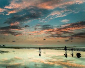 Sunset Beach Wall Art, Thailand, Koh Phangan Island Sunset, Travel Photography, Asia Photo, Beach Photography, Reflection Art, Thai Wall Art