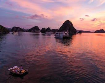 Vietnam Landscape Photography, Halong Bay Boats at Sunset, Fine Art Photography, Boat Photography, Wall Art Print, Fish Boats Photos, Pink