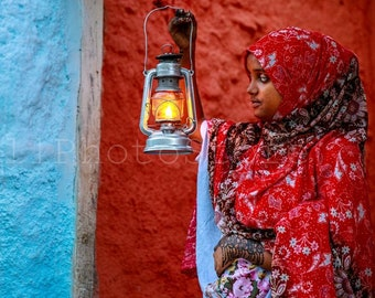 Ethiopian Wall Art, Girl with Lantern. Ethiopia, Harar, Ethiopian Photography, Fine Art Photography Print, African Wall Art, Red blue Poster