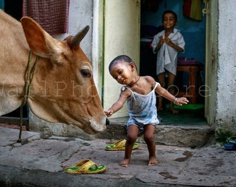 India Photography, Kid with Cow in Varanasi, Children in India, Child Photography, Indian Kids, Indian Print Art, Fine Art Photography