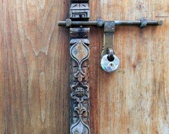 Carved Door Photography, Door-bolt, Door Lock Photography, Zanzibar Door, Architecture Photography, Fine Art Photography, Door Wall Art
