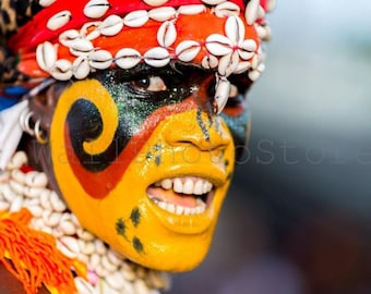 African Photography, Senegal Face Painting, African Dancer, Travel Photography, Fine Art Photography Print, African Wall Art, Red Yellow