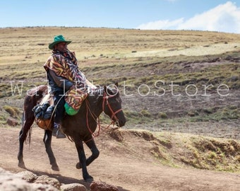 Lesotho Photography, Basotho Man on Horse wearing traditional Blanket, South Africa, Travel Photography, Fine Art Photography, Wall Art