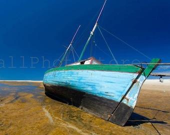 Boat Photography, Aqua Boat on Morondava Beach, Madagascar, Beach Photography, Boat Print Art, Travel Photography, Boat Pictures, Wall Art