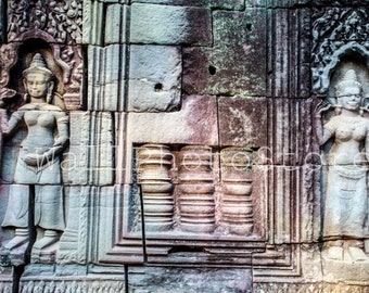 Ancient Stone Carving in Angkor Wat, Siem Reap, Cambodia Photography, Travel Photography, Asian Wall Art, Wall Picture, Angkor Wat Photos