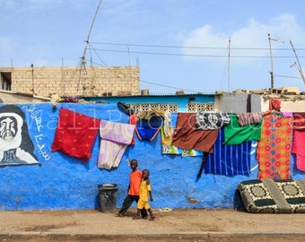 African Photography, Children on the Streets of St. Louis, Senegal Wall Art, Blue Poster, African Wall Art Print, Senegal Print Photography