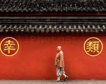 Red Walls of Wenshu Yuan Temple, Walking Buddhist Monk, Buddhism, Monk Photography, China Photography, Monk Poster, Wenshu Yuan Monastery