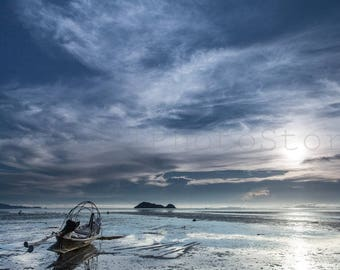 Koh Phangan Beach Sunset Photography, Thailand, Boat Photography, Boat on Beach, Travel Photography, Thai Wall Art, Fine Art Photography