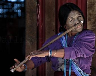 Nose Flute Playing, Tattooed Woman, Asian Woman Portrait, Myanmar Photography, Myanmar Art Print, Burma Art, Wall Art Decor, Fine Art Photo