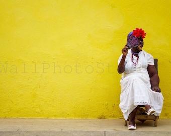 Cuba Photography, Cuban Lady with Cigar, Havana Photography, Cuba Print Art, Cigar Art, Cigar Photography, Cigar Wall Art, Smoker, Cafe shop