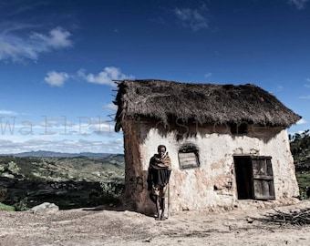 Madagascar Photography, Malagasy Man, Malagasy House, Madagascar Art, African Art, African People, Travel Photography, Wall Art Print, Blue