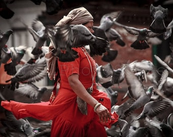 Nepal Photography, Woman in Red with Pigeons, Kathmandu, Nepal Pictures, Fine Art Photography, Woman Photography, Asia Photo, Wall Art Print
