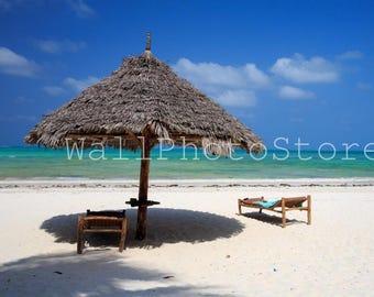 Umbrella on Beach, Beach Photography, Tropical, African Photography, Sea Coast, Blue Sky, Fine Art Photography, Beach Wall Art, Beach Poster