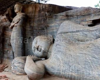 Buddha Photography, Reclining Buddha Statue, Sri Lanka Art, Polonnaruwa, Ceylon Art, Asia Art, Travel Photography, Buddha Wall Art Print