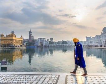 India Photography, Sikh Warrior, Golden Temple, Amritsar, India, Holy Lake, Sikh Photo, Sikhism, Sikh Art, Fine Art Print, India Print Art