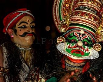 Kathakali Print Art, Kathakali Wall Art, Kathakali Dancer Portrait, Kathakali Painting, Kathakali Mask, India Photography, Kathakali Poster