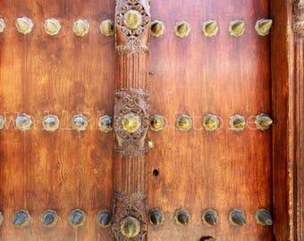Zanzibar Door Photography, Old Brown Wooden Carved Door, Door Print, Door Poster, Fine Art Photography, Door Wall Art, Door Art Print