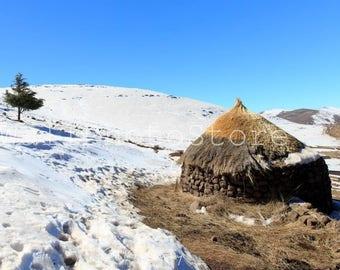 Lesotho Photography, Winter in Lesotho, Basotho Hut, Lesotho Wall Art, Ancient African Houses, African Photography, Travel Photography, Snow