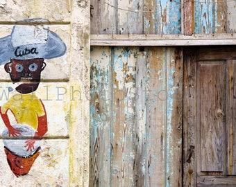 Door Photography, Old Wooden Door, Graffiti, Cuba Photography, Door Lock, Кeyhole, Door-Bolt Photo, Fine Art Photography, Door Art Print
