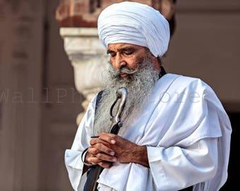 India Photography, Praying Sikh Portrait, Sikh Photos, Sikh Print Art, Sikhism Art, Sikh Guru, India Print Art, White, Fine Art Photography