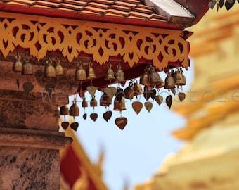 Buddha Photography, Bells Decoration in Buddhist Golden Temple, Thailand, Asia Art, Travel Photography, Fine Art Photography, Wall Art Print