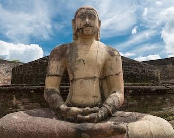 Big Stone Carved Buddha Statue, Sri Lanka, Buddha Photography, Temple, Asia Art, Travel Photography, Fine Art Photography, Buddha Wall Art