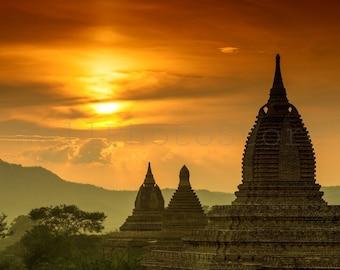Bagan Wall Art, Bagan Temples, Myanmar Photography, Asian Wall Art, Buddhism, Bagan Poster, Sunset Wall Art Print, Landscape Photography