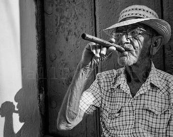 Black and White Photo of Cuban Man with Cigar, Cuban Cigar Art, Cuba Photography, Cuban Art Poster,Cuba Print Art, Smoker, Cigar Wall Decor