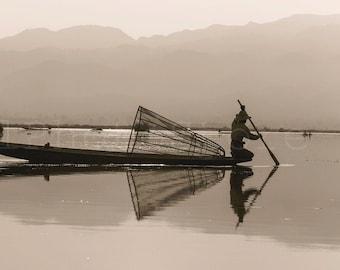 Inle Lake large Poster, Panoramic Wall Art, Pictures of Lake Inle, Fishing, Myanmar Photography, Fisherman Boat, 10x20, 12x24, 16x32, 20x40