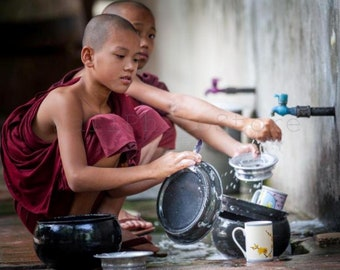 Young Buddhist Monks, Monk Photography, Myanmar Photography Print Art, Buddhism, Monk Wall Art, Monk Poster. Square Photo, Burma Photos