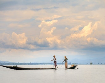 Myanmar Photography, Two Fishermen on Inle Lake. Fishing Boat, Myanmar Wall Art, Asian Wall Art, Fine Art Photography Print, Myanmar Poster