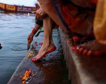 Colorful Photo of Indian Woman Feet, Varanasi Street Photography, Indian Wall Art, Woman Feet Photo, Images of Woman Foot, Female Feet Decor