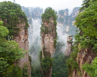 Zhangjiajie National Forest Park in Fog, China, Mountain Forest Photography, Travel Photography, Natural Photography, Large Wall Art, Green