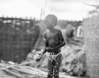 Black and White African Wall Art, Senegal Photography, African Girl Taking Shower, Bathing Girl, African Photography, African Wall Art