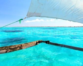 Dhow Sailing, Ocean Wall Art Decor, Sailing Boat Photography, Clear Aquamarine Water, Indian Ocean, Ocean Art Prints, Aquamarine Poster