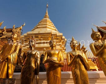 Thailand Golden Buddhas Temple, Buddha Statues, Buddha Photography Art Print, Thailand Photography, Travel Photography, Wall Art Print, Gold