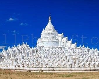Panoramic Wall Art, White Pagoda Mandalay, Photo, Panorama, Mya Thein Tan Pagoda, Myanmar Photography, Poster, 10x25, 12x30, 16x40, 20x50 in