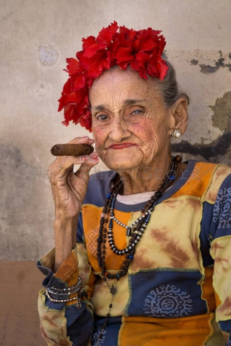 Cuban Lady with Cigar Cuba Photography Cuba Print Art Cigar image 0
