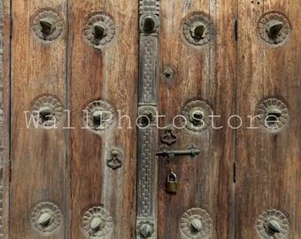 Door Photography, Zanzibar Doors, Old Brown Wooden Carved Door, Tanzania, Architecture Photography, Door Wall Art, Zanzibar Wall Art, Poster