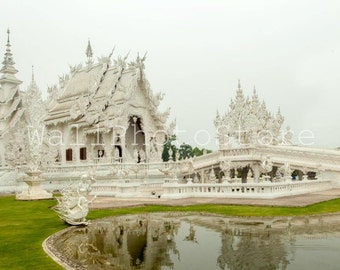 Thailand Photography, Wat Rong Khun, White Temple, Asia Photos, Travel Photography, Fine Art Photography, Print Photography, Wall Art Decor