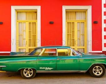 Cuban Car Photography, Old Green American Car in Trinidad, Car Poster, Cuba Car Print Art, Old Buick Photo, Cuba Car Wall Art, Street Photo