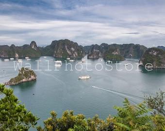 Ha Long Bay  Boats, Vietnam Photography, Landscape Photography, Halong Bay Picture, Fishing Boat Art, Fine Art Photography, Vietnam Wall Art