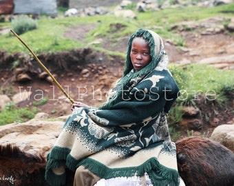 Basotho Herd Boy, Semonkong, Lesotho Photography, South Africa Photos, Lesotho Photos, Lesotho Boy, Fine Art Photography Print, African boy
