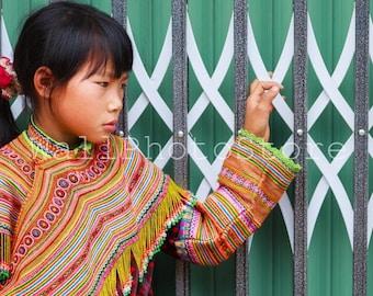 Vietnam Photography, Flower Hmong Girl, Vietnamese Girl, Vietnam Wall Art, Vietnam Poster,  Asian Girl, Travel Photography, Vietnam Print