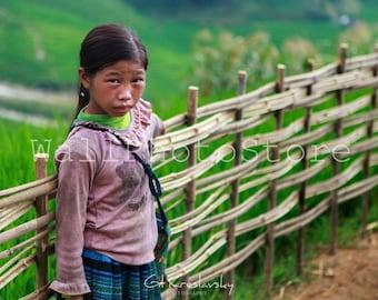 Vietnamese Black Hmong Girl Photo, Vietnam Photography, Asian Girl, Travel Photography, Fine Art Print Photography, Asian Wall Art