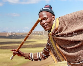 Lesotho Wall Art, Basotho Man with Stick, South Africa Photography, African People Photography, Travel Photography, Lesotho Photos,